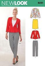 NEW LOOK SEWING PATTERN Misses' Skirt Pants & Peplum Jacket SIZE 8 - 18 6231
