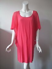 Gypsy 05 Hollywood Coral Scoop Neck Batwing Lightweight Silk Tunic Mini Dress S