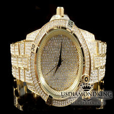 Men's New Fully Ice Out Yellow Gold Finish Bling Master Simulated Diamond Watch