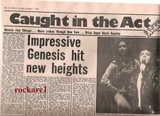 GENESIS 'stun Chicago' concert review 1974 UK ARTICLE / clipping