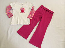 Gymboree 4 Birthday Girl Gem Flower Cupcake Shirt Pink Pants Set Outfit