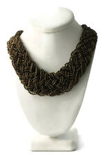 "NWT Metallic Brown Braided Seed Bead Wide Bib Collar Necklace 22.5-25"" Long"