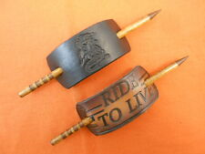 2 Leather Hair Barrettes w Sticks, Ponytail Dragon Ride to Live Hand Crafted #44