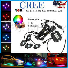 4x CREE Pod Mini Bluetooth RGB LED Rock Light Multi-Function UTE Offroad Vehicle