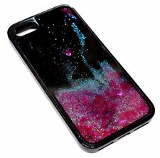 For iPhone 7 PLUS Pink Hearts Glitter Liquid Waterfall Quicksand Black Skin Case
