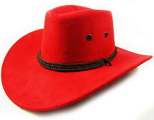 Faux Leather Hat Cap Cowboy Mens Western Large Womens w/ chin strap Red NEW