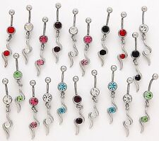 5 Assorted Elegant Dangle Belly Rings WHOLESALE CZ 14g Body Jewelry Gemstone
