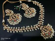 Indian kundan jewelery Bollywood Bridal Pearl Kundan Necklace Sets Partywear