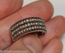 MDJ STERLING SILVER WIDE BAND RING RED BROWN & WHITE DIAMOND ROWS SIZE 10 LADIES