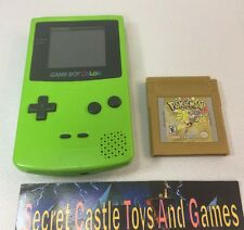 Pokemon Gold w/ New Battery + Nintendo Game Boy Color Lime Green Handheld System