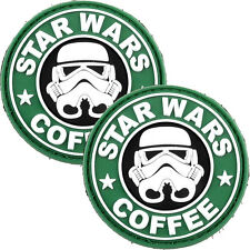 2x Tactical 3D PVC Morale Patch Military Star Wars Coffee Green Airsoft Starwars