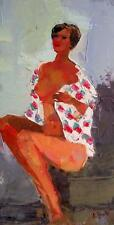 Wrapped in Flowers : Original Impasto Impressionist Oil Painting by Alex Bote