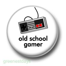 Old School Gamer 1 Inch / 25mm Pin Button Badge Retro Video Computer Games Fun