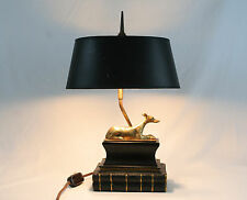 1973 Chapman Desk Table Lamp Solid Brass Whippet Dog Pedestal Books Oval Shade