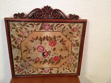 Antique Late 19th Early 20th Century Floral Needlepoint in Nice Wood Frame