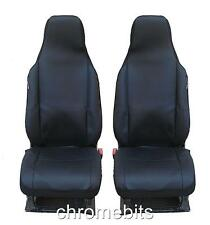 UNIVERSAL FRONT BLACK FABRIC SEAT COVERS MPV CAMPER CAR VAN BUS MOTORHOME TRUCK