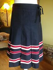 LAURA ASHLEY Gorgeous Cotton Red White Blue Nautical Patriotic skirt uk 12