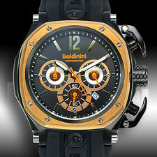 BALDININI CHRONO STAINLESS GOLD BEZEL BLACK SILICONE MENS SPORT LUX WATCH RARE