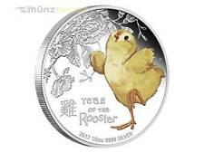 50 Cent Lunar Jahr des Hahn Baby Hahn Rooster Tuvalu 1/2 oz Silber 2017 PP