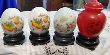 Lot of 3 Avon Perfume Cologne Eggs +Asian theme bottle  All PLASTIC stands