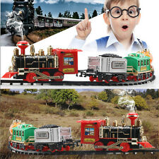 Classic Train Set For Kids With Music and Light Battery Operated Railway Car Toy
