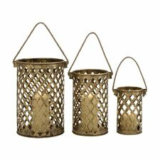 Woodland Imports 26848 Antique Metal Lantern Candle Holders (set of 3)