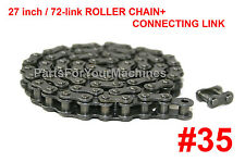 """CHAIN ASSY. ROLLER, 27"""" LONG=72 CONNECTING LINKS. #35, FOR MINI BIKES, GO-KARTS."""