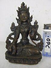 Weiße Tara Buddha Göttin kunstvoll gravierte alte Handarbeit Tibet vor 1970 13cm