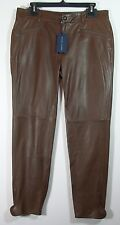 Authentic Ralph Lauren Blue Label Brown Leather Pants Fully Lined US Size 12 NWT