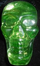 Green Vaseline art glass Gothic skull head / uranium figurine canary yellow neon
