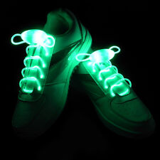 Green Light-Up LED Glow Party Waterproof Shoelaces-3 Modes(On, Strobe&Flashing)