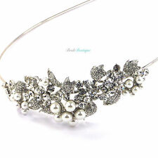 Bridal Vintage Crystal & Pearl Flower Leaf Vine Side Accent Headband Tiara TH03