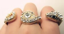 Charm Gold Diamant Rhinestone Crystal Snake 3 Fingers Ring Women Punk Jewelry