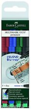 Faber-Castell Multimark Permanent 1513 F Assorted Marker Pens Pack of 4
