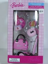 NIB BARBIE DOLL 2007 5 CHRISTMAS TREE ORNAMENT SET