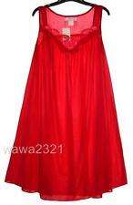 RED Embroidery Satin Sleeveless Women's Nightgown Sleepwear #9006 - Sz XL