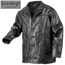 Black Patchwork Leather Hipster Coat - Men's XL