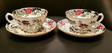 (Set of 2) BEAUTIFUL Antique Coalport Kings Ware Canton Tea Cup and Saucer Sets