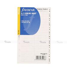 Filofax Personal Size A-Z Slimline Index White 2 Letters Per Tab Refill 131653