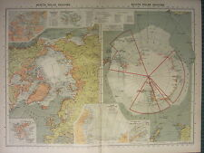 1939 MAP NORTH & SOUTH POLAR REGIONS EXPLORERS VICTORIA LAND GRAHAM SPOTSBERGEN