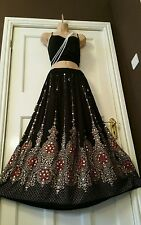 Ladies Indian Boho Hippie Gypsy Long Sequin Skirt Rayon in Black & Orange  inset