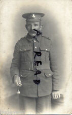 WW1 Soldier Pte Welsh Regiment wears webbing belt & holds swagger stick Redcar