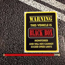 BLACK BOX Monitored Vehicle WARNING car sticker insurance young driver Safety