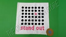 "Pottery Barn Teen Stand Out Eco Message Pillow Cover 18"" Organic Dots Black Pink"