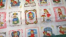 Margaret and Sophie Cotton fabric FQ vintage girls gate quilting small panels