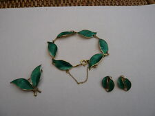 DAVID ANDERSEN NORWAY STERLING SILVER ENAMEL BRACELET EARRINGS BROOCH SET GREEN