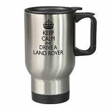 Keep Calm Land Rover Travel Mug Silver Gift Present Birthday Christmas Father