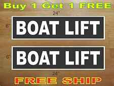 """White on Black BOAT LIFT 6""""x24"""" REAL ESTATE RIDER SIGNS Buy 1 Get 1 FREE"""