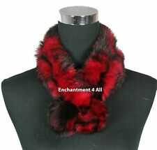 New Stylish 100% Rabbit Fur Women Self-Tied Neck Collar Scarf BOA, Red/Black