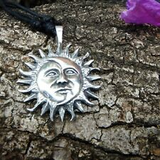 SUN&MOON Face Silver Solar Pewter Pendant And Cotton Necklace Free Shipping#289